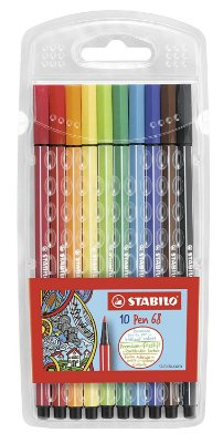 Kit Stabilo Pen 68 brilliant colors 10 cores - Grátis caderneta Stabilo