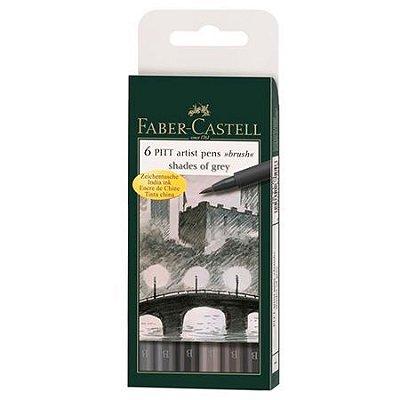 Estojo Canetas Faber Castell Pitt Pincel 6 cores Cinza