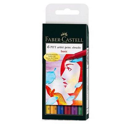 Estojo Canetas Faber Castell Pitt Pincel 6 Cores Basicas
