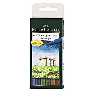 Estojo Canetas Faber Castell Pitt Pincel 6 Cores Paisagem