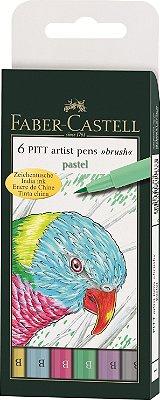 Estojo Canetas Faber Castell Pitt Pincel 6 Cores Pastel