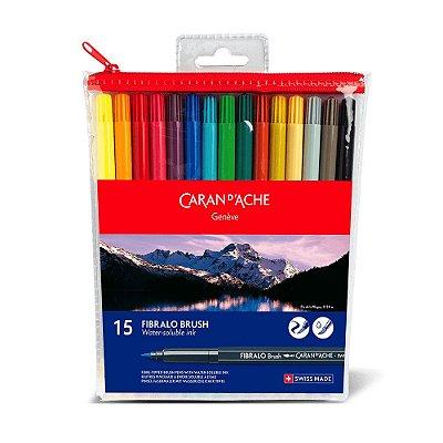 Estojo Canetas Caran d'Ache Fibralo Brush 15 cores