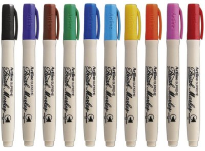 Kit Caneta Pincel Artline Brush 10 cores