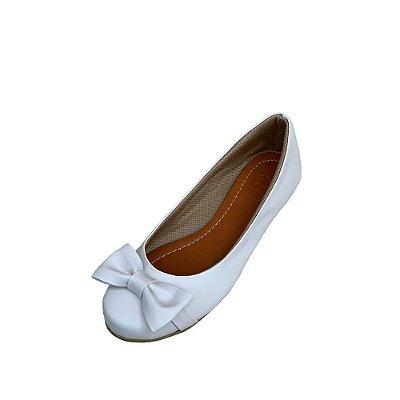 Sapatilha Likka Calçados Branca  com Laço Fivela Dourada - Varejo 020