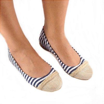 Sapatilha Likka Calçados Listrada Azul Branco Bico Areia - Varejo  021