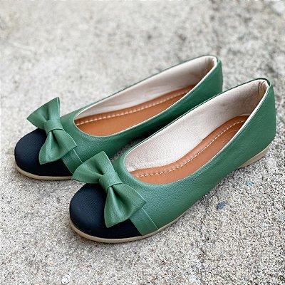 Sapatilha Likka Calçados Verde Bico Preto   029