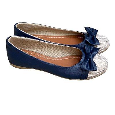 Sapatilha Likka Calçados  Azul com Laço Fivela Dourado - Varejo 037