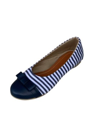 Sapatilha Likka Calçados Listrada Branco Azul - Varejo 003