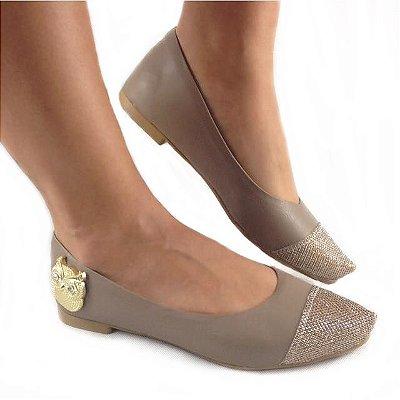 Sapatilha Likka Calçados Bege Escuro  Dourado Coruja - Varejo 023