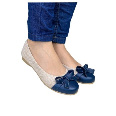 Sapatilha Likka Calçados Nude Areia Azul laço - Varejo 039
