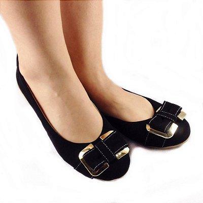 Sapatilha Likka Calçados Preta Com Laço - Varejo 012