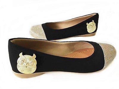 Sapatilha Likka Calçados Preta Bico Dourado Coruja - Varejo 022