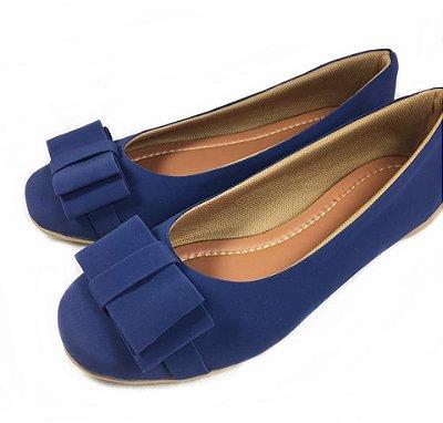 Sapatilha Azul Bico Redondo com laço - Varejo REF. 018