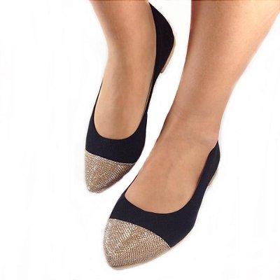 Sapatilha Likka Calçados Preta  Bico Dourado - Varejo  002