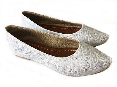 Sapatilha Likka Calçados Fios Prata com Branco- Varejo  035
