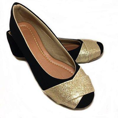 Sapatilha Likka Calçados Preta  Glitter Dourado - Varejo 046