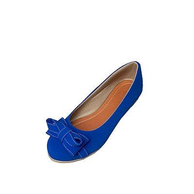 Sapatilha Likka Calçados Bico Redondo Azul Royal - Varejo 058
