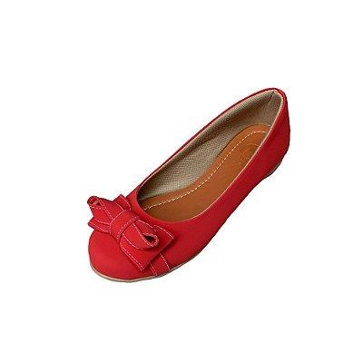 Sapatilha Likka Calçados Bico Redondo Vermelha  - Varejo 061