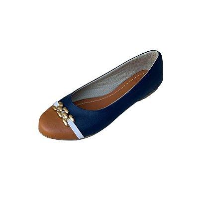 Sapatilha Likka Calçados Azul Bico Marrom Fivela Dourada- Varejo REF. 064