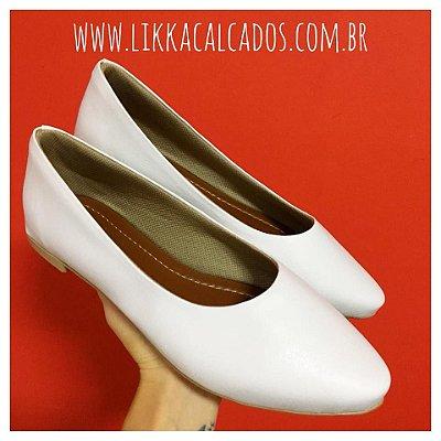 Sapatilha Likka Calçados Branca Bico Fino  - Varejo