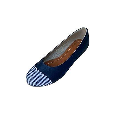 Sapatilha Likka Calçados Coruja Azul Bico Redondo Listrado - Varejo 074