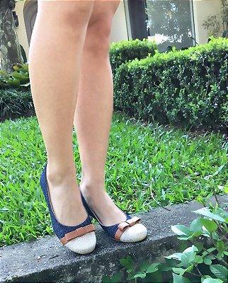 Sapatilha Likka Calçados Jeans Bico Redondo Palha - Varejo 073