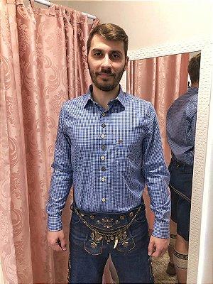 Camisa Traje Típico Xadrez Azul