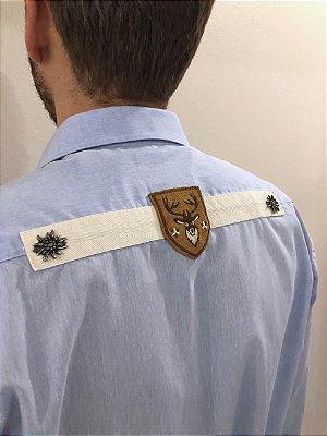 Camisa Traje Típico Bordada Azul Claro