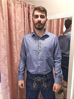 Camisa Traje Típico Bordada Cobalto