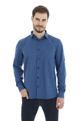 Camisa Casual - Azul Xadrez