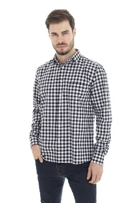 Camisa Casual - Xadrez preta