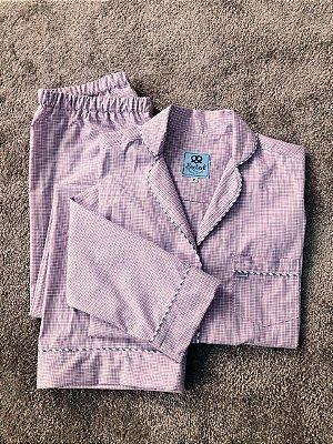 Pijama Xadrez Rosa Algodão Egípcio