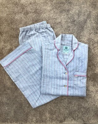 Pijama Azul Listrado Longo