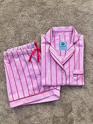 Pijama Curto Listrado Vermelho e Rosa