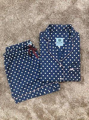 Pijama Curto Poá Azul Marinho