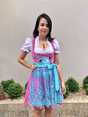 Vestido Floral Rosa e Azul