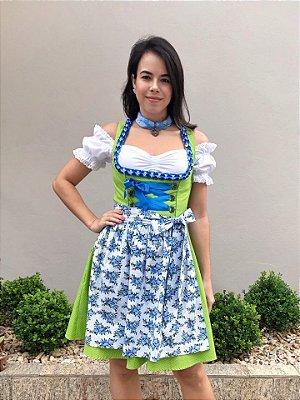 Vestido Poá Verde e Floral