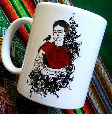 Caneca Frida Kahlo e passáro