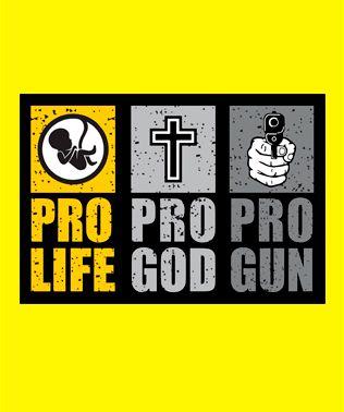 Camiseta Pro Life - Pro God - Pro Gun Amarela