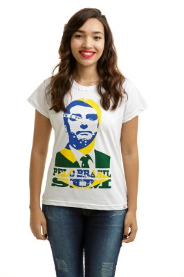 Camiseta Bolsonaro Presidente Pelo Brasil Sim Branca (Baby Look)