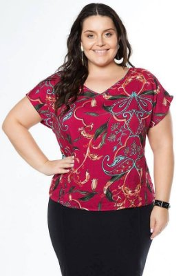 BLUSA PLUS SIZE ESTAMPA REF C30370