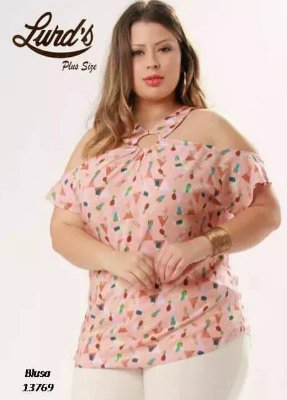 BLUSA PLUS SIZE ROSE REF 13769