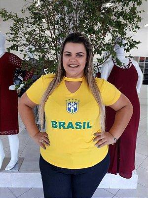 CAMISETA PLUS SIZE BRASIL 2018 VISCOLYCRA REF 1501