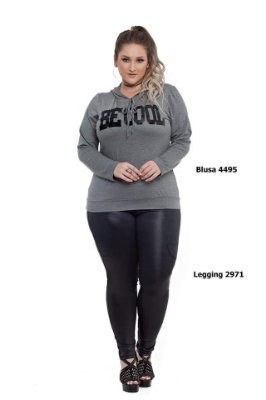 "BLUSA PLUS SIZE M/L ""BE COOL""  MESCLA REF 4495"