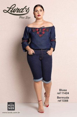 BLUSA PLUS SIZE OMBRO A OMBRO 3/4 JEANS REF 11424