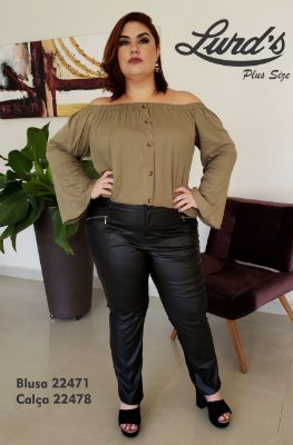 BLUSA PLUS SIZE OMBRO A OMBRO MANGA FLARE VERDE REF 22471