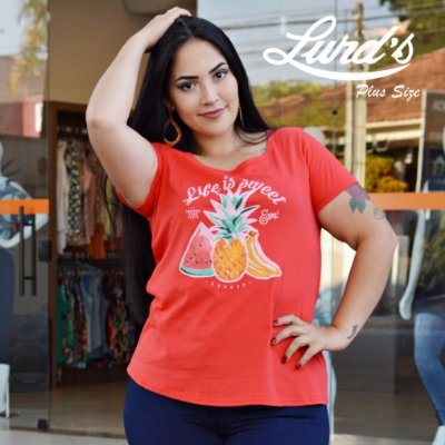 T-SHIRT PLUS SIZE ESTAMPA FRONTAL VERMELHA REF 53159