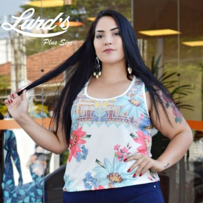 REGATA PLUS SIZE CANELADA FLORAL OFF WHITE REF 8240020