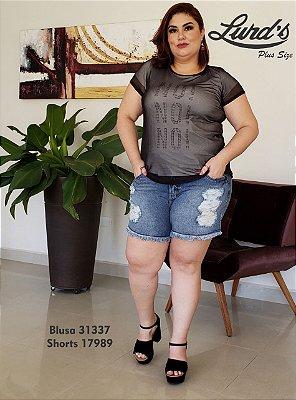 BLUSA PLUS SIZE TULE PRETO/NUDE REF 31337