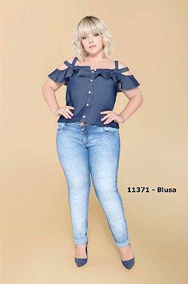 BLUSA PLUS SIZE OMBRO VAZADO JEANS REF 11371